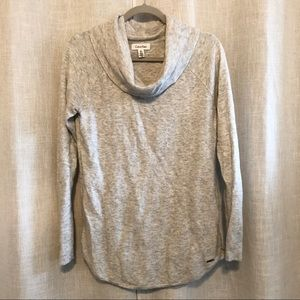 Calvin Klein Grey Ribbed Sweater with Cowl Neck
